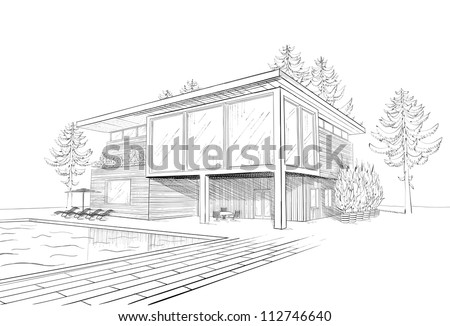 Vector Black And White Sketch Of Modern Suburban Wooden House With Swimming Pool Chaise Lounges