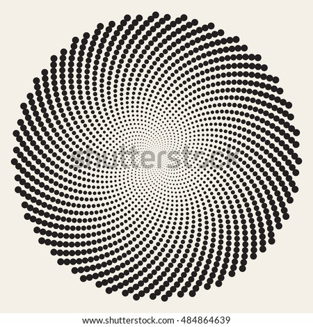 Vector Black and White Spiral Circles Swirl Abstract Round Optical Illusion. Abstract Geometric Background Design