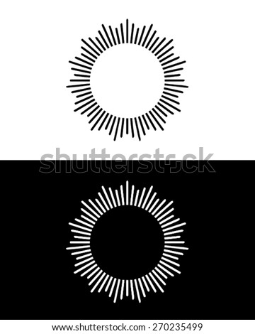 vector black and white sun ray