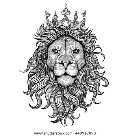 Vector Black and White Tattoo King Lion Illustration