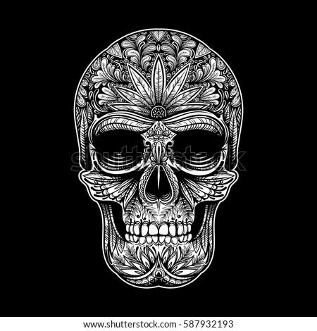 Vector Black and White Tattoo Skull Illustration on Black Background