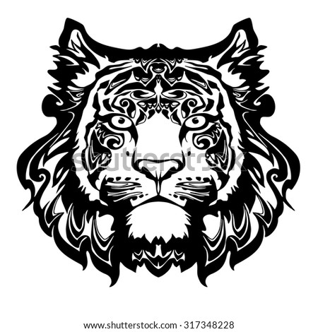 vector black and white tiger