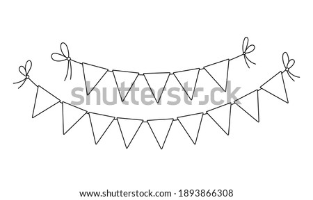 Vector black and white triangle birthday flags for holidays decoration. Cute funny hanging carnival pennants illustration for card or invitation design. Holiday, festival or fair garland line icon   Stockfoto ©