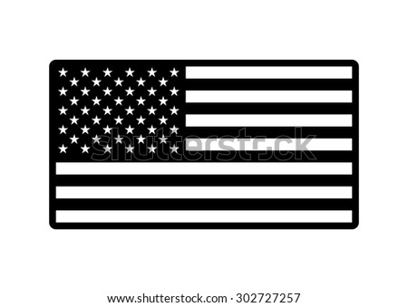 Vector black and white USA army flag, on white background #302727257