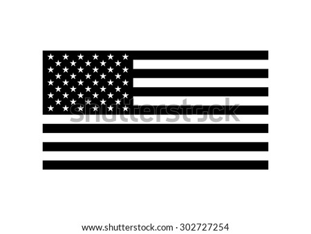 Vector black and white USA flag, on white background