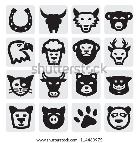 vector black animals icons set on gray