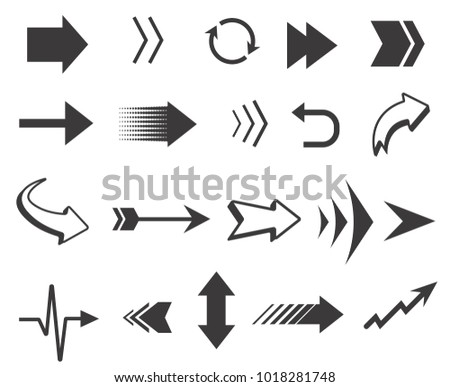 Vector black arrows collection. Arrows icons isolated on white background for navigation, mobile interfaces #1018281748