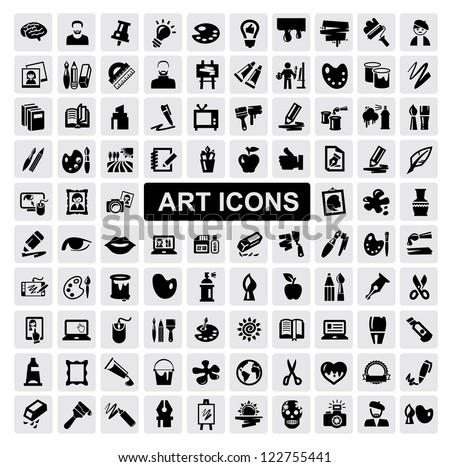 vector black art icons set on