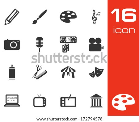 Vector black art icons set on white background