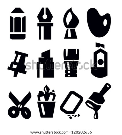 vector black art tool icons set