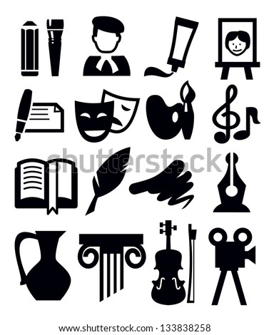 vector black arts icon set on gray