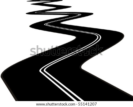 vector black asphalt road on white background
