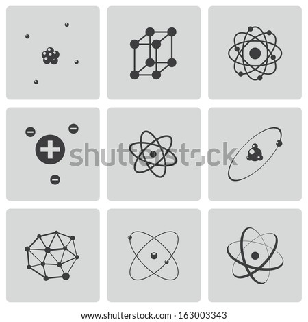Vector black atom icons set