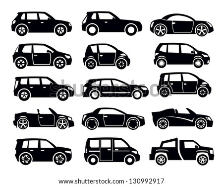vector black auto icon set on