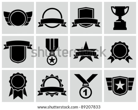 Vector black award icons.