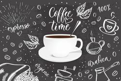 Vector black background with doodle sketch illustration of coffee beans, beverage details for cafe menu.