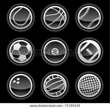 vector black ball icons