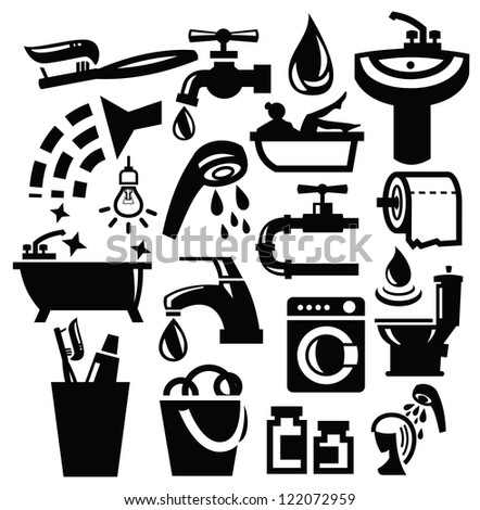 vector black bathroom accessories icons set on white
