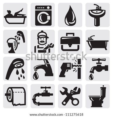 vector black bathroom icons sey on gray