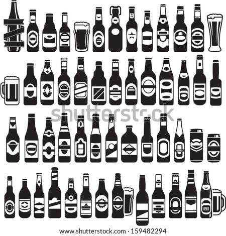 Vector black beer bottles icons set Beer can
