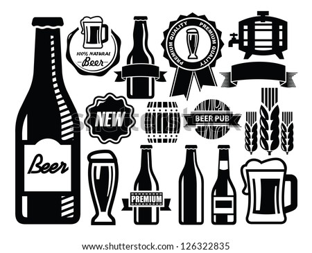 vector black beer icon set on white