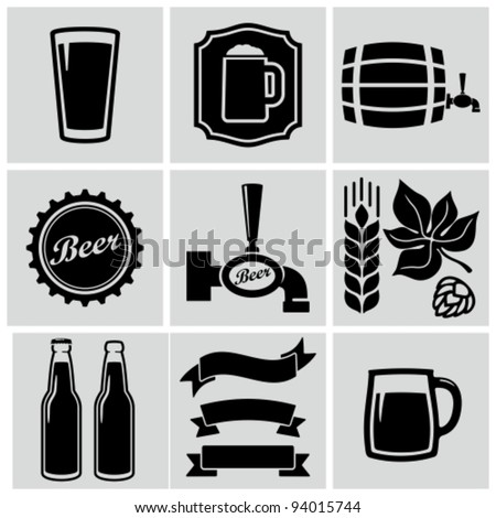 vector black beer icons set