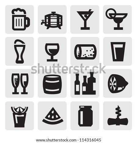 vector black beverages icons set on gray