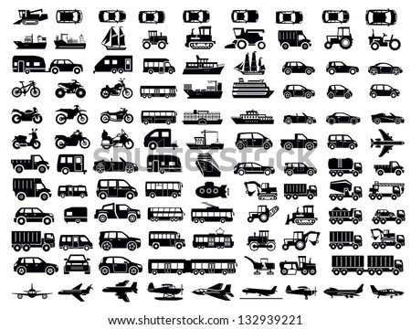 Vector Black Big Transportation Icon Set On White
