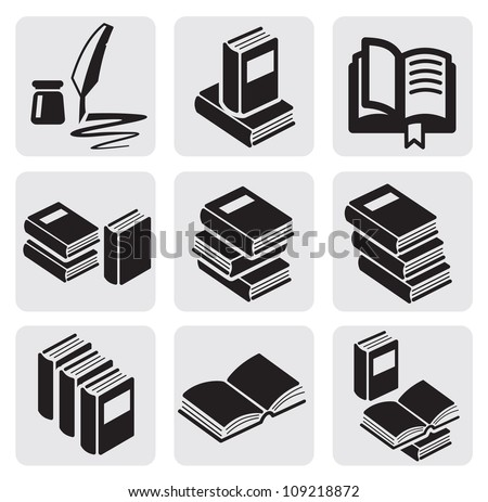 vector black books icon set in the gray squares