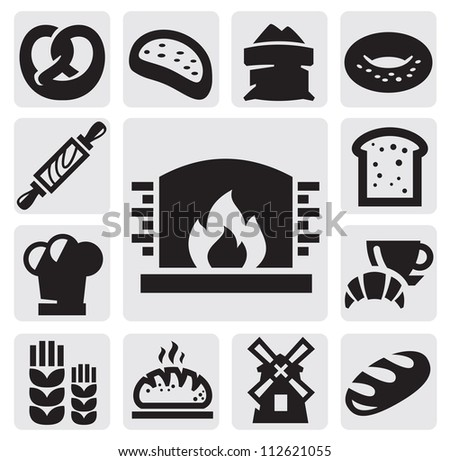 vector black bread icons set on gray
