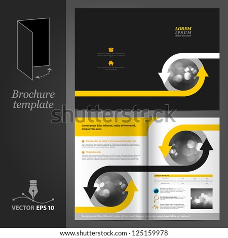 Vector black brochure template design with arrows. EPS 10