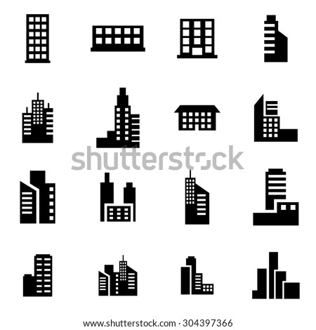 Vector black building icon set.