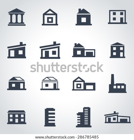 Vector black buildings icon set.