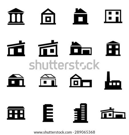 Vector black buildings icon set.