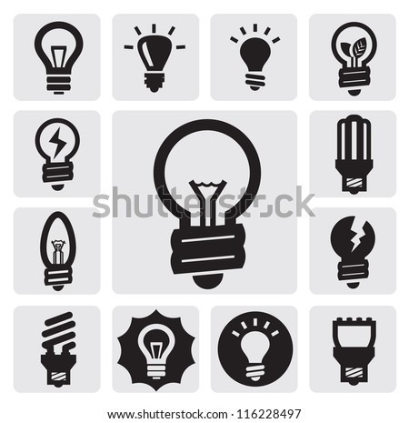 vector black bulbs icons set on gray