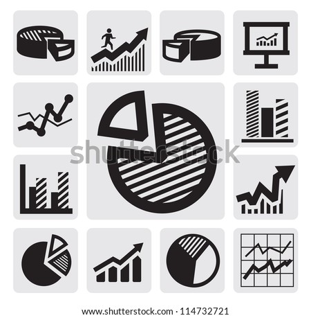 vector black business chart icons set on gray