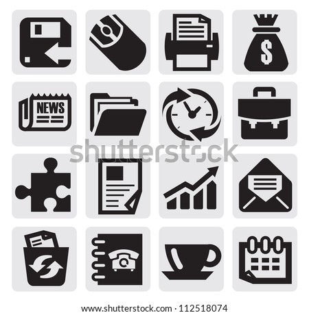 vector black business icon set on gray