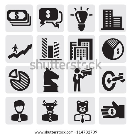 vector black business icons set on gray