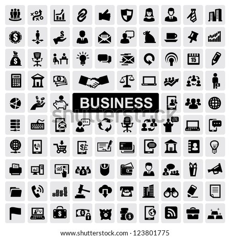 vector black business web icons set on gray