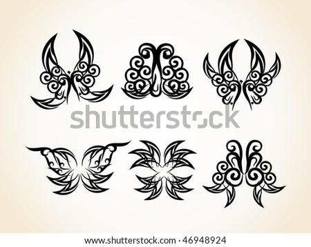 tribal black tattoos. stock vector : Vector Black