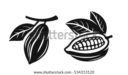 vector black cacao beans on white background