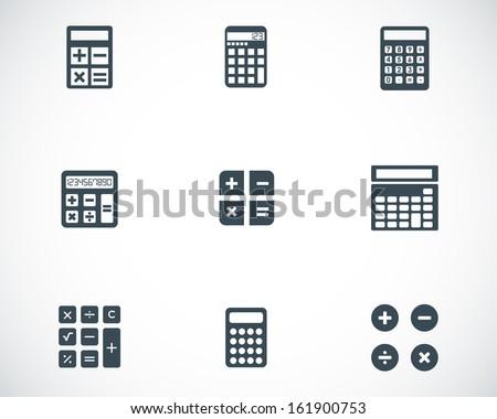 vector black calculator icons...