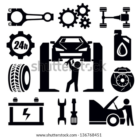 vector black car repair icon set on white