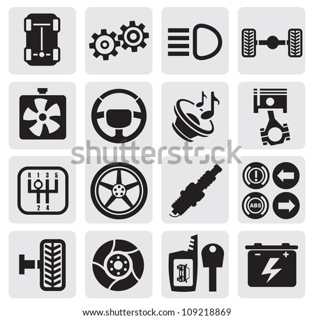 vector black car repair icons in the gray squares