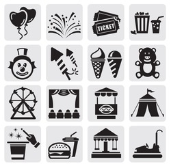 vector black carnival icons set in the gray squares
