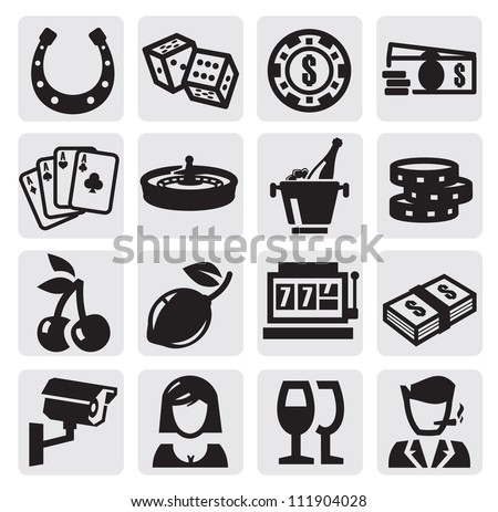 vector black casino icons set on gray