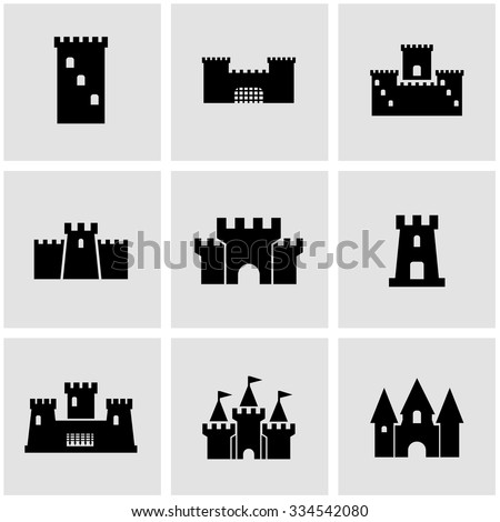 vector black castle icon set
