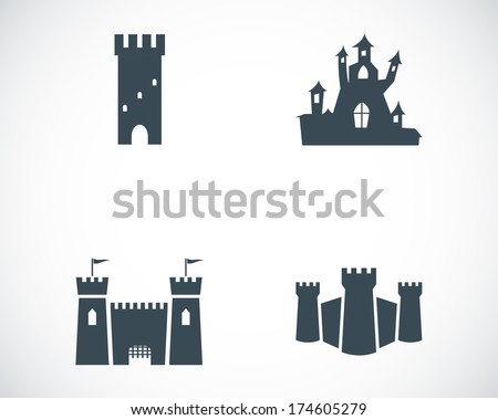 vector black castle icons set