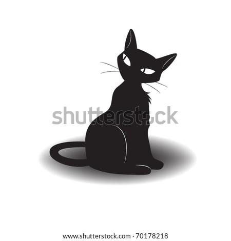 Vector black cat sits.