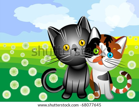 vector black cat with tri-colored cat on a summer flowering meadow, clouds in the form of hearts